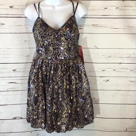 Emerald Sundae Dresses & Skirts - SOLD. Emerald Sundae Navy Blue Gold Sequins